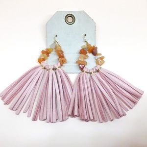 NWT Anthropologie Pink Leather Tassels  Earrings